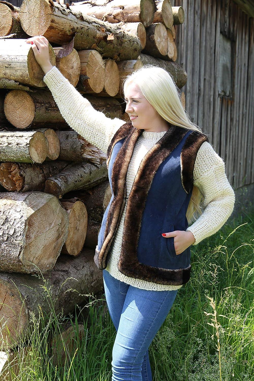 Hollert Damen Lammfweste Kati Blau Fellweste echtes Veloursleder Merino Schaffell Freizeit Outdoor Reiterweste Lederweste warme Weste