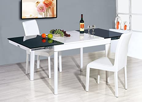 white extendable dining table dark tempered glass - White Extending Dining Table
