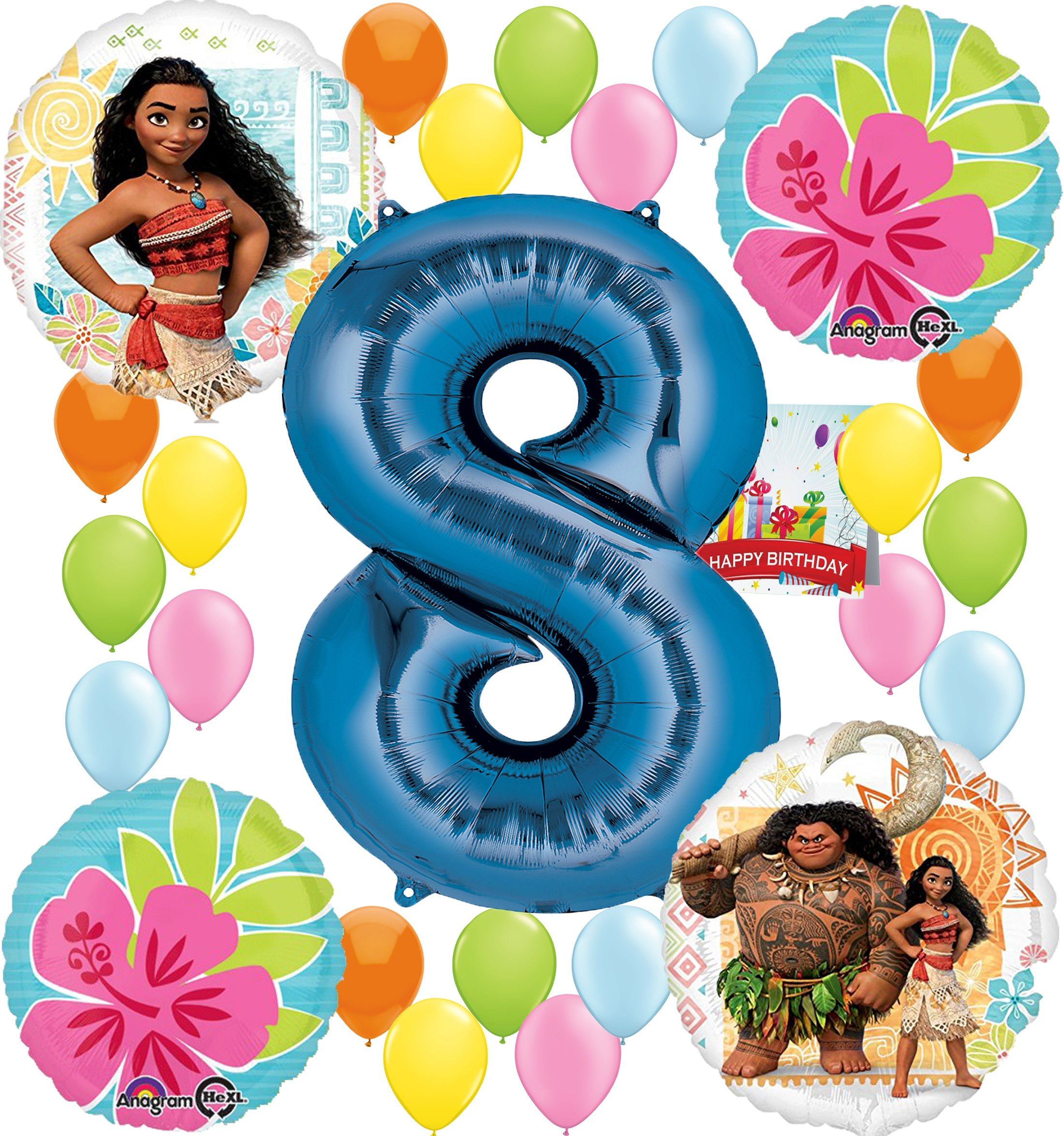 Moana Party Supplies Birthday Decorations Number Balloon Bundle for (8th Birthday)