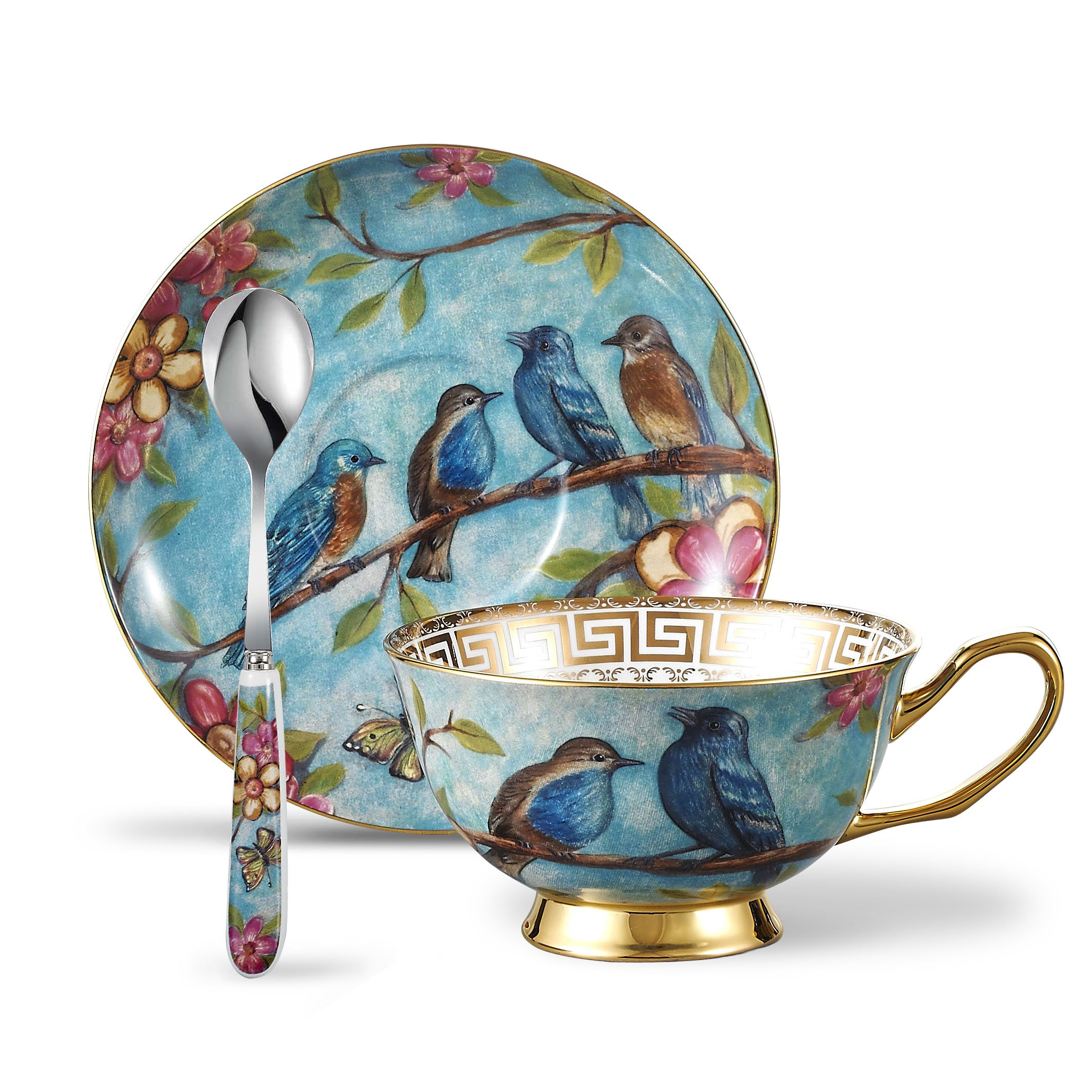Panbado 3 Piece Bone China Tea Cup Saucer Set with Spoon Porcelain Gold Rimmed Teacup Coffee, Flower and Birds, 200 mL/6.8 oz, Blue Cup & Saucer, Dark