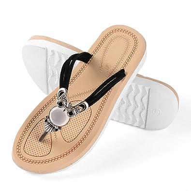 cbec9888504 Aerusi Women s Girl s Owl Embellished Flip Flops Summer Beach Thongs  Slipper Sandals Shoes Footwear (USA