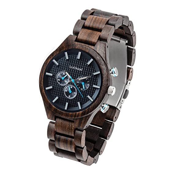 Amazon.com: TruWood Pilot Wooden Watch with Black Sandalwood and All-Wood Band: Watches