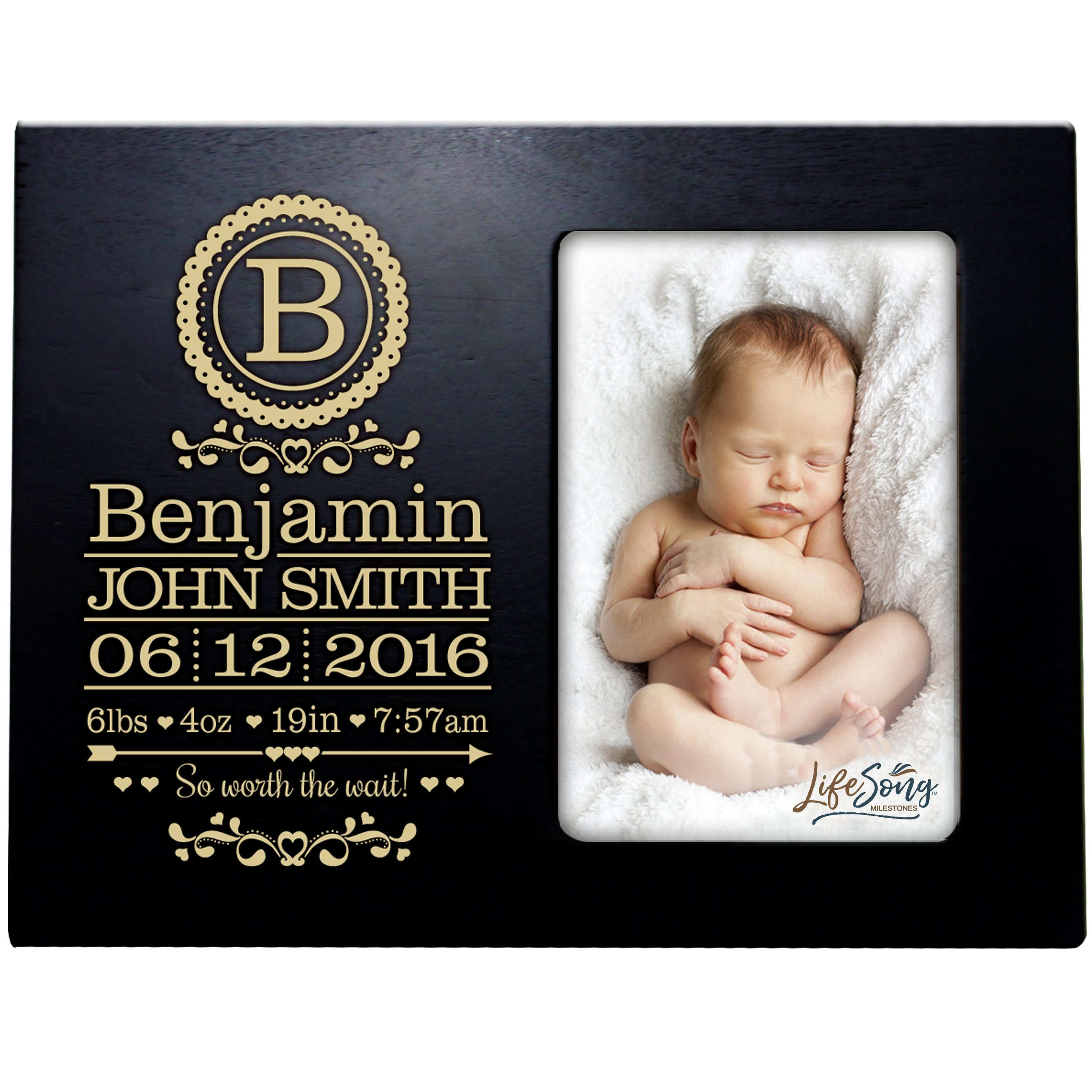 LifeSong Milestones Personalized New Baby Birth Announcement Monogram Picture Frame for Newborn Boys and Girls Custom Engraved Photo Frame for New mom and dad Parents and Grandparents (Black)