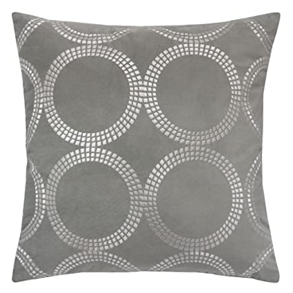 Homey Cozy Embroidery Gray Velvet Throw Pillow Cover,Geometric Circle  Modern Large Decorative Sofa Couch Pillow Case 20x20,Cover Only