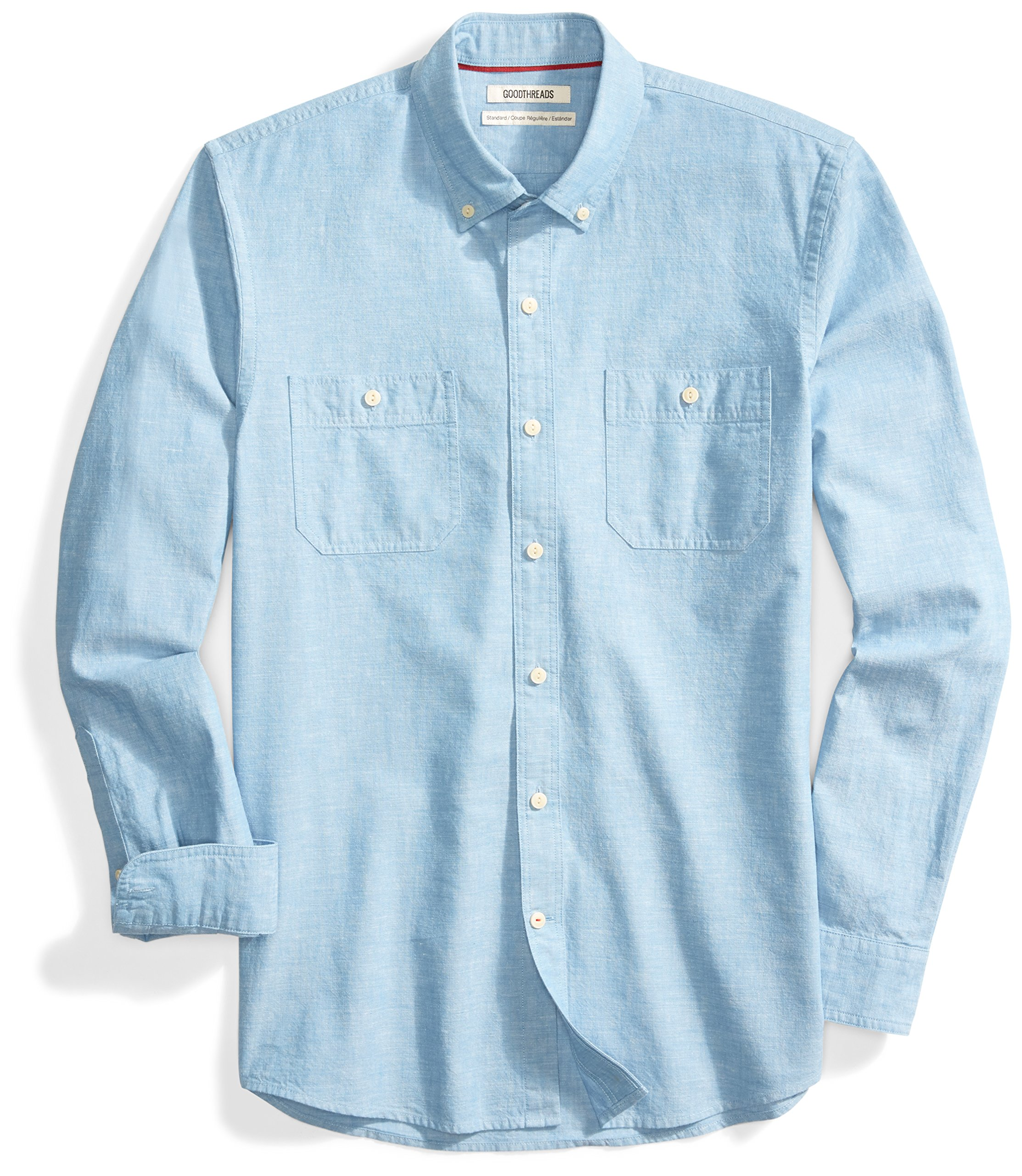Goodthreads Men's Standard-Fit Long-Sleeve Chambray Shirt, Blue, Large