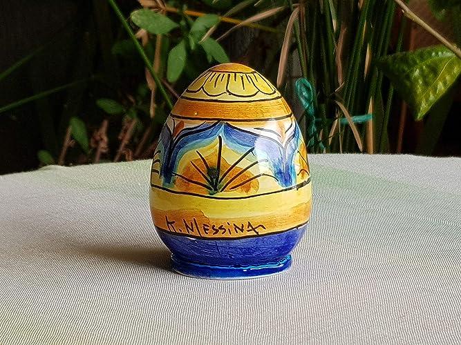 Uova Di Ceramica Dipinte A Mano.Uovo In Ceramica Siciliana Uovo Da Collezione In Ceramica Decorato