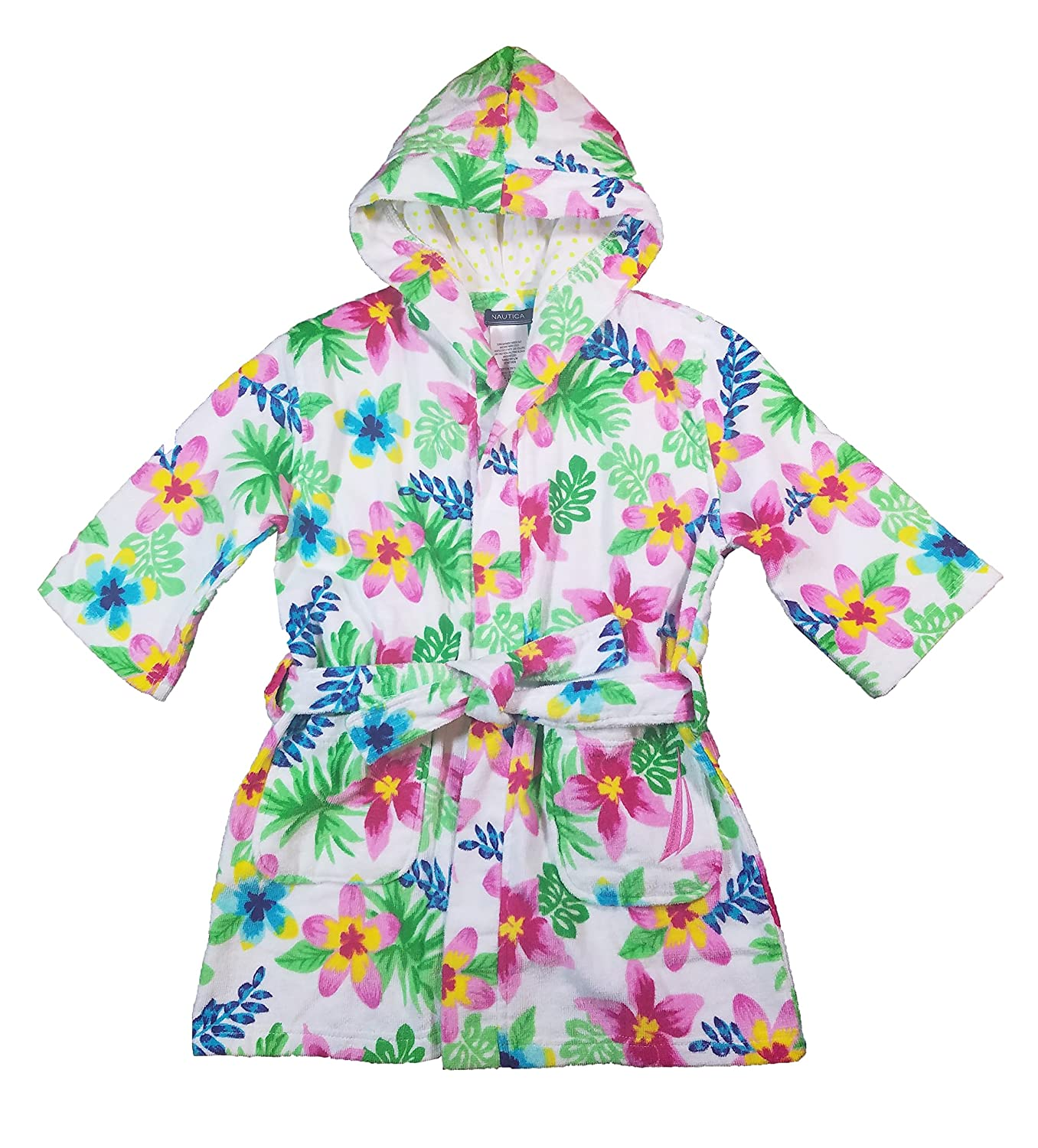 Nautica Girls' Hooded Terry Velour Swim Cover-up Beach Robe White Floral)
