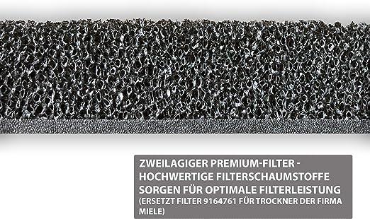 2x DL-pro Filter passend f/ür Miele 9164761 Schaumfilter 2-lagig 207x155mm Sockelfilter an W/ärmetauscher Kondenstrockner Trockner