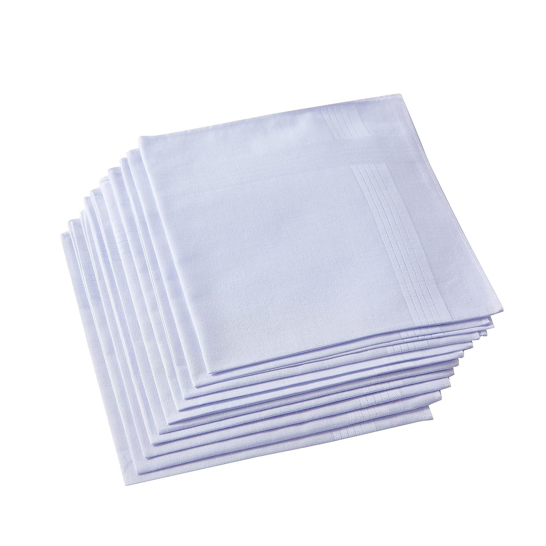 RICOSKY Men's White Handkerchiefs,100% Cotton,Pack of 12 HAPPYTEX