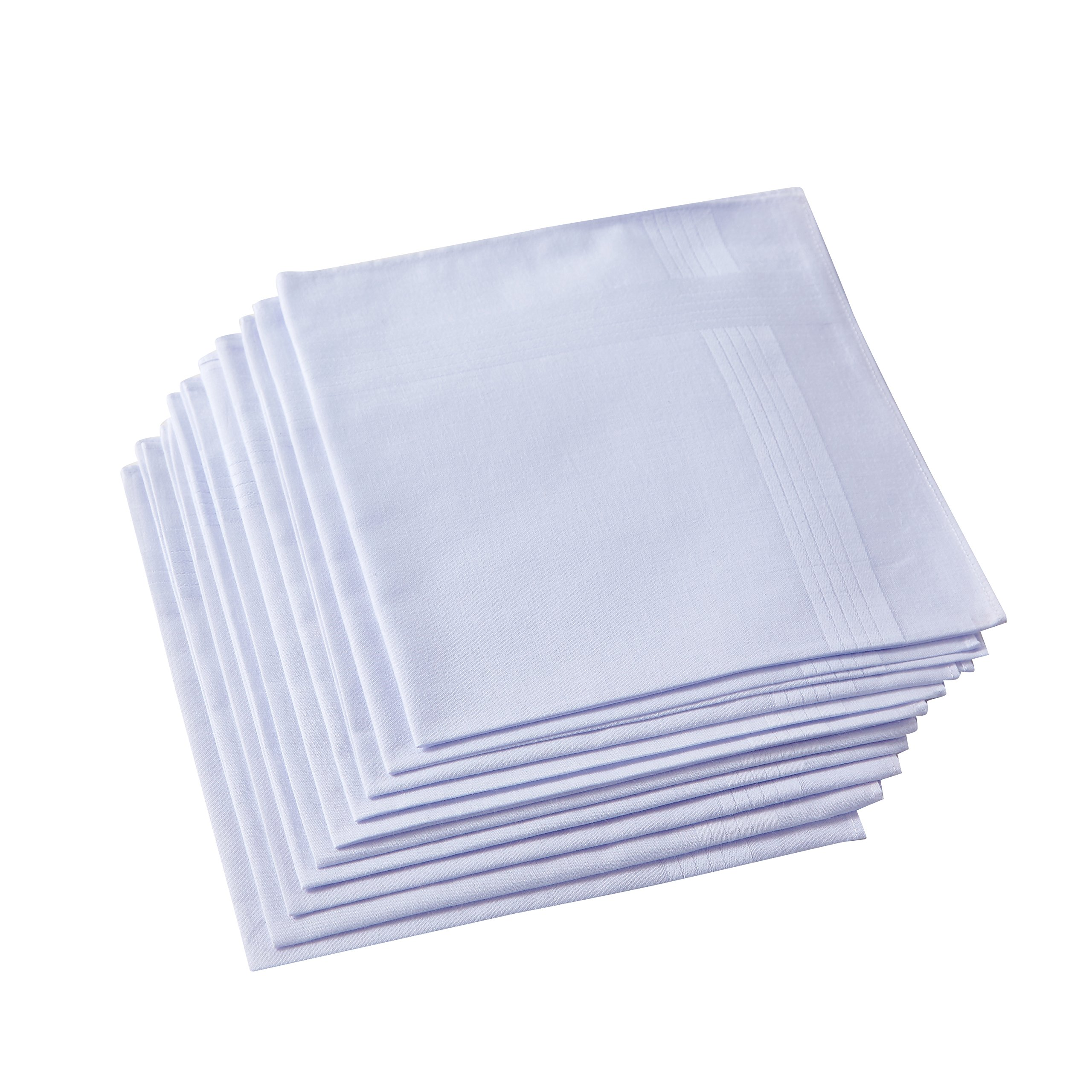 Men's White Handkerchiefs,100% Cotton,Pack of 12