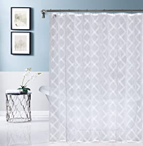 Dainty Home Katherine Embroidered Shower Curtain, Whie
