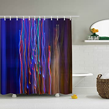 LED Waterfall Colorful Shower CurtainsPolyester Waterproof Curtains 12 Hooks Included 69quot