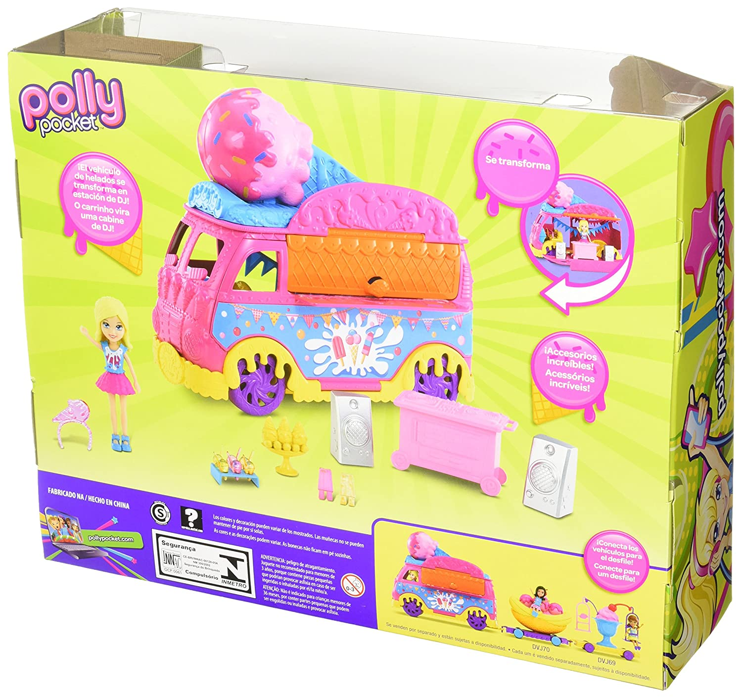 Amazon.com: Polly Pocket Carnaval Ice Cream Truck Defile de Helados: Toys & Games