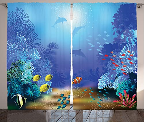 Ambesonne Underwater Curtains, Underwater Coral Reef Polyps Algae Dolphins and Goldfishes Bubbles in Deep Ocean Print, Living Room Bedroom Window Drapes 2 Panel Set, 108 X 84 , Blue Yellow