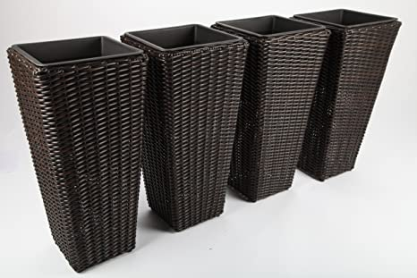 Vasi In Rattan Prezzi.4x Vasi Per Fiori Vasi Per Piante Contenitori Per Piante Rattan
