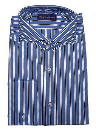 Polo Ralph Lauren Purple Label Mens Dress Shirt French Cuff Blue Stripe 16