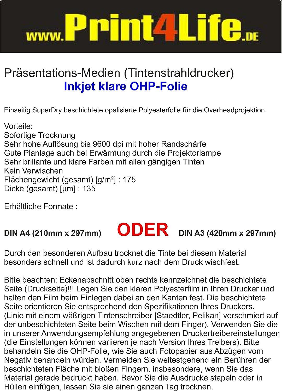 120 OHP presentazione a getto d'inchiostro A4 diapositive 175g / m² spessore a getto d'inchiostro per la produzione di 0.135 millimetri professionali, presentazioni true-color. Unidirezionale SuperDry pellicola di poliestere esterno opale rivestito per lav