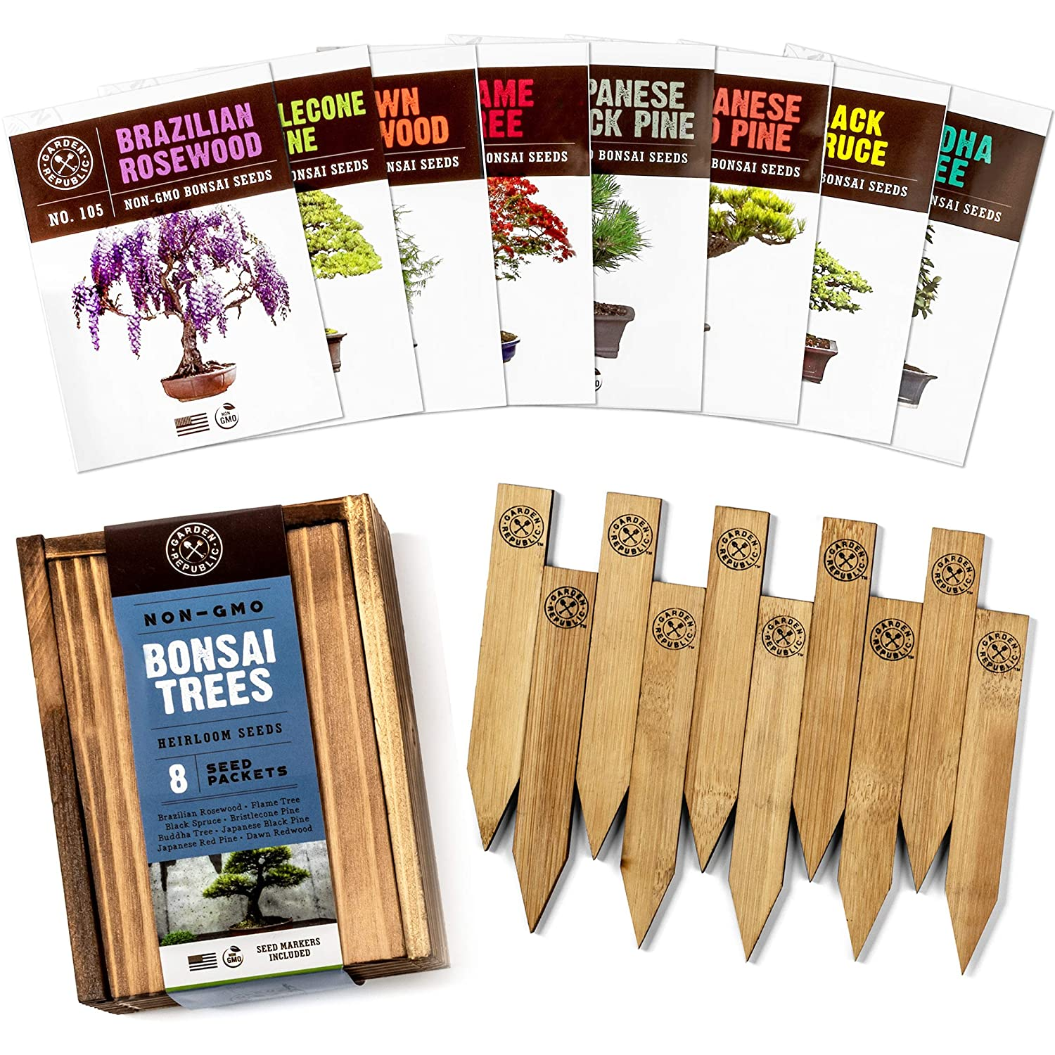 Bonsai Tree Seeds Kit - 8 Popular Varieties of Non GMO Mini Bonsai Trees + Bamboo Plant Markers, Wood Gift Box, Grow Bonzai eBook - Bonzie Tree Seed Starter Kits, Indoor Garden, Gardening Gifts Idea