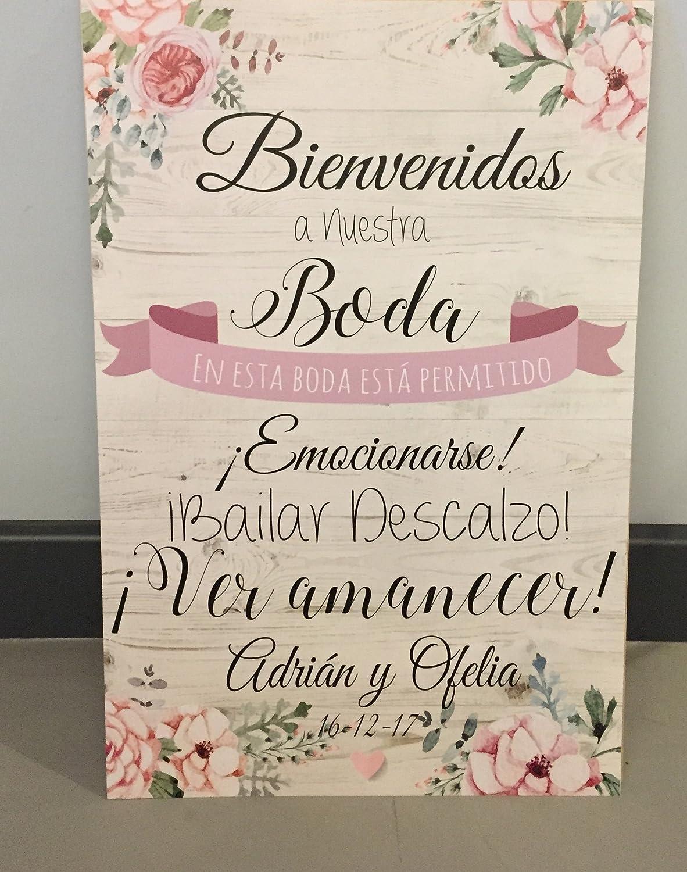 Cartel Bienvenidos a nuestra Boda, gracias por venir, con ...