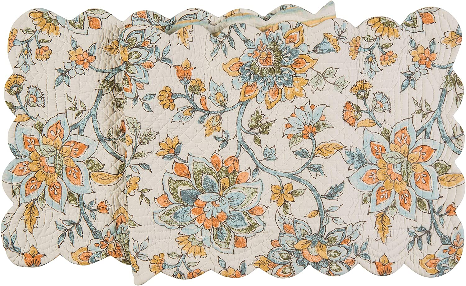 C&F Home Ainsley Jacobean Floral Reversible Stripes Table 14