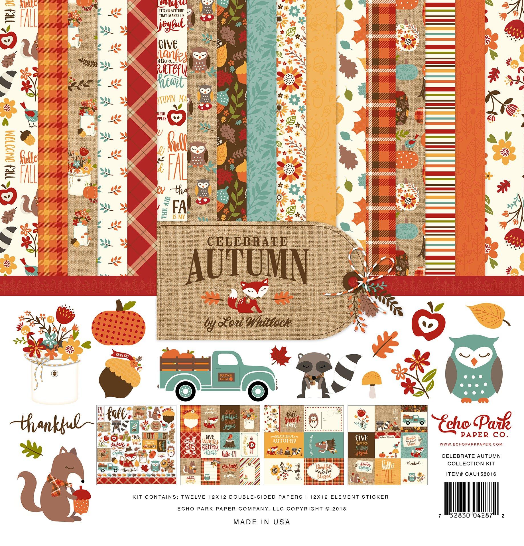 Echo Park Paper Company CAU158016 Celebrate Autumn Collection Kit, Orange, Yellow, Blue, Brown, Tan