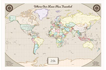 Amazon personalized world travel map pins customized map with personalized world travel map pins customized map with white frame and pins 24 x 36 gumiabroncs Image collections