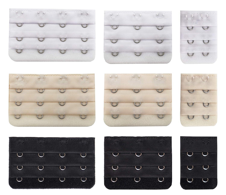 Bra Extender, 2 Hooks/3 Hooks/4 Hook Soft and Comfortable Bra Strap Extension- 9 Packs