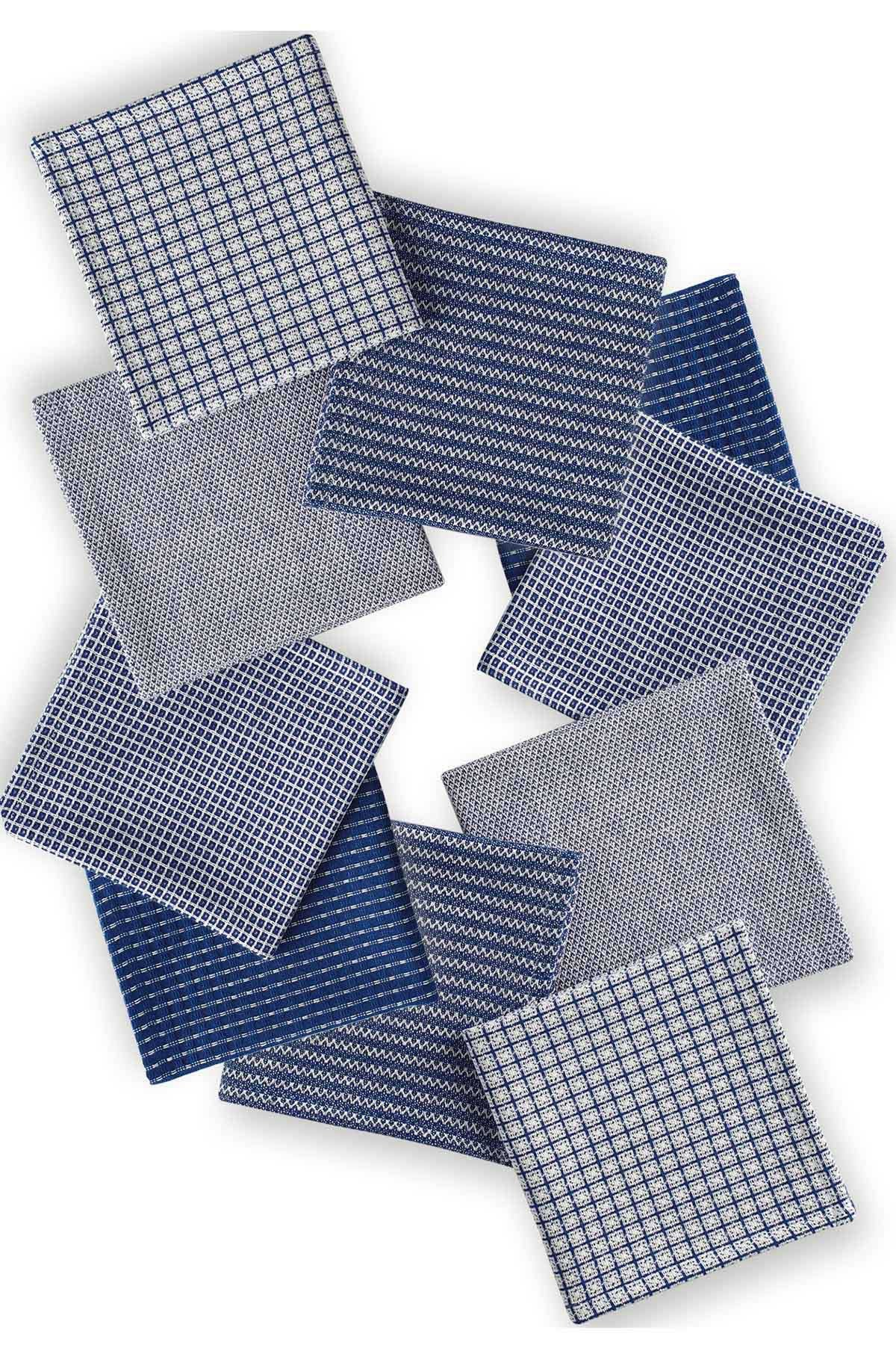 DII COSD35164 Cotton Everyday Dishcloths, Machine Washable Ultra Absorbent Bar Towels, Perfect Home and Kitchen, 13x13, Blue and White Capri