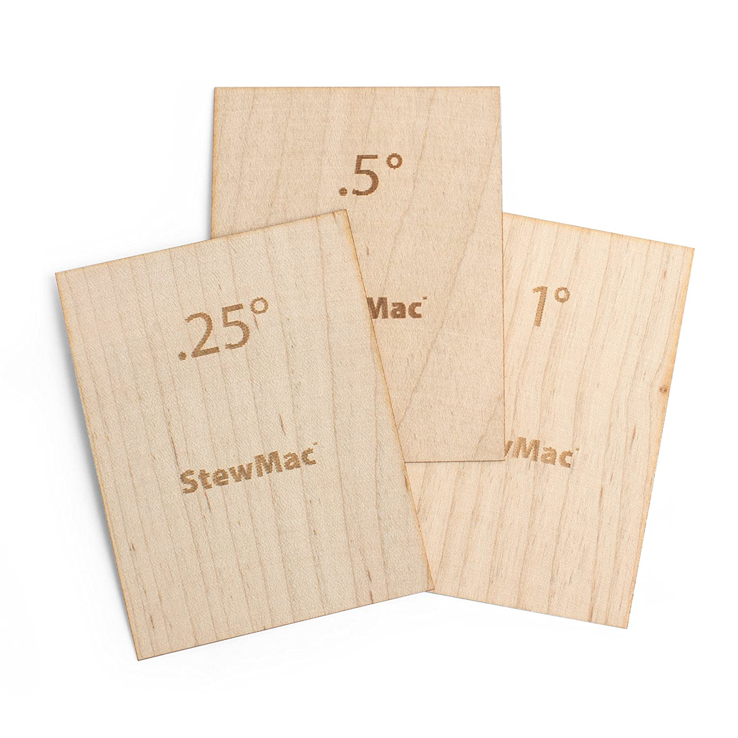 StewMac Guitar Neck Shims for Bolt-on Necks, Made of Solid Maple, Blank, Set of 3 #AN2130