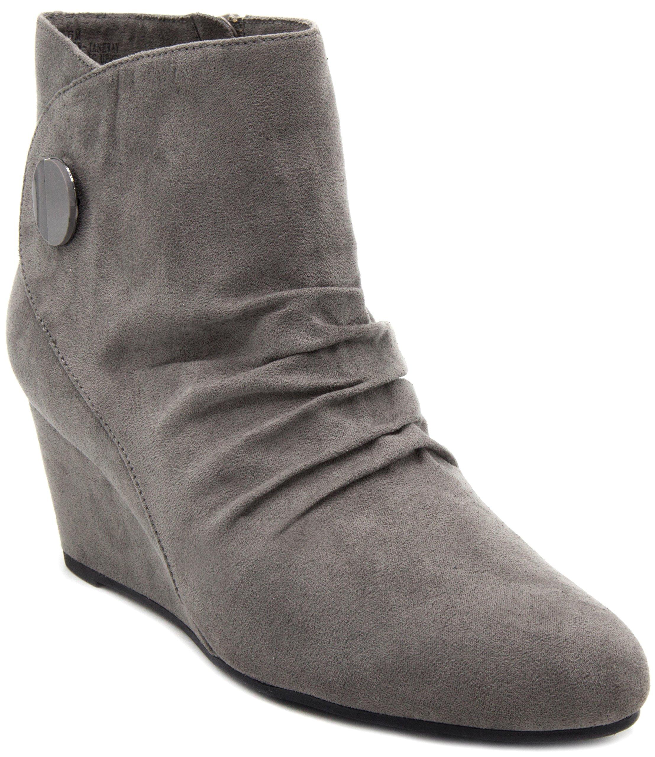 London Fog Womens Janeway Wedged Ankle Booties Grey 9.5 M US
