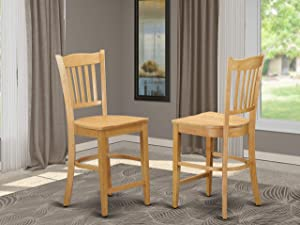 Groton Counter Stools With Wood Seat In Oak Finish