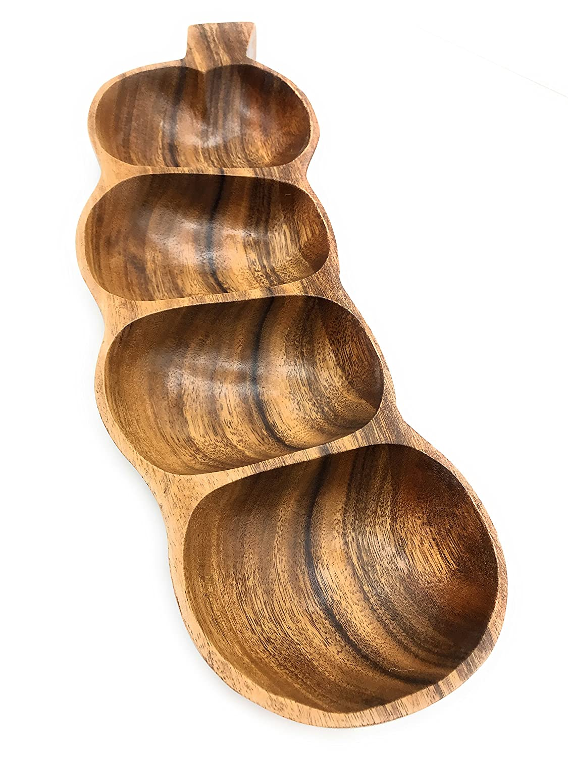 Acacia Wood Tamarind-Shaped Tray with 4 Sections, 17