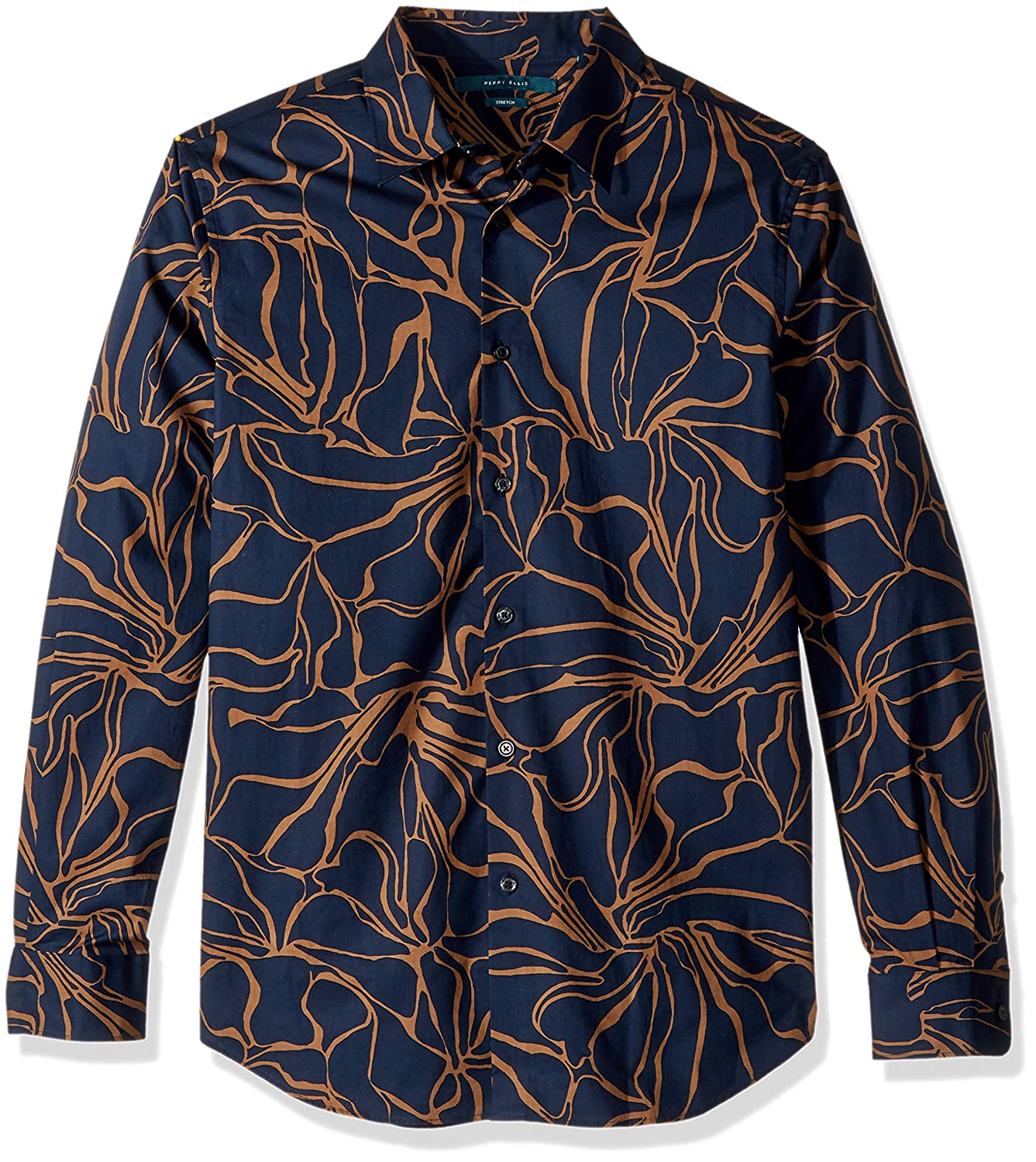 Perry Ellis Mens Long Sleeve Abstract Floral Print Shirt