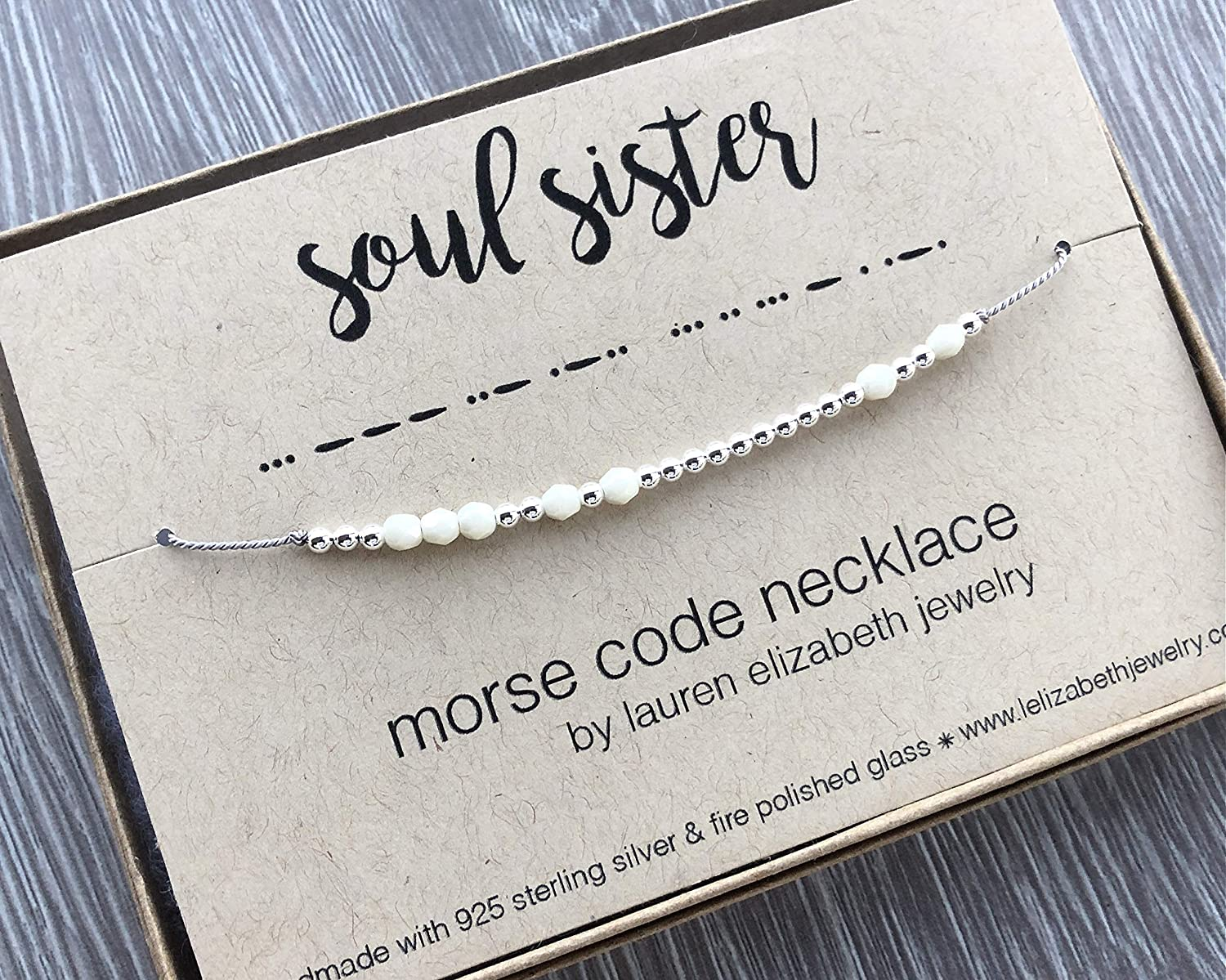 Jewelry for Her BFF Birthday Gift for Best Friend SOUL SISTER Morse Code Necklace Handmade with 925 Sterling Silver