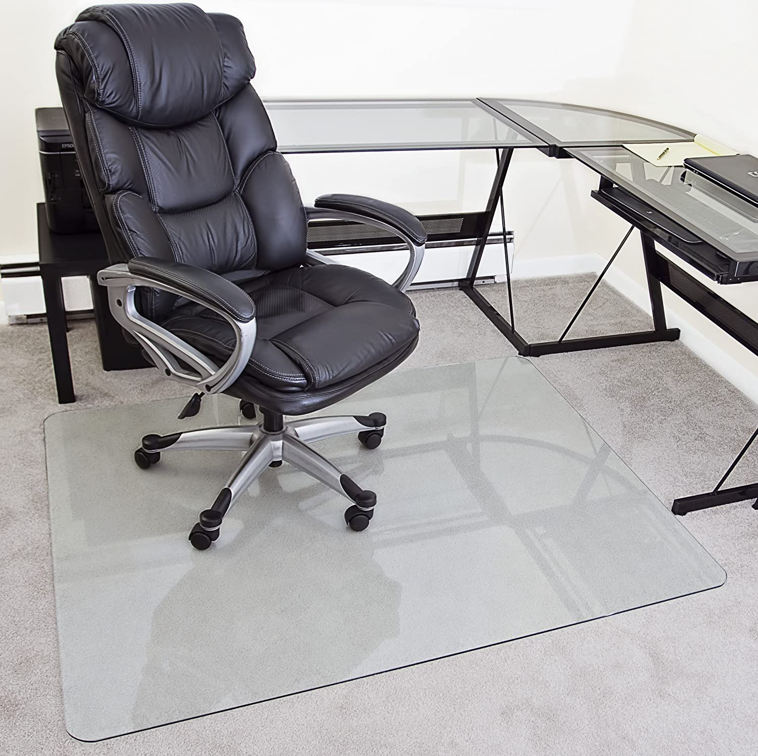 amazon com myglassmat 48 x 60 inch tempered glass chair mat for
