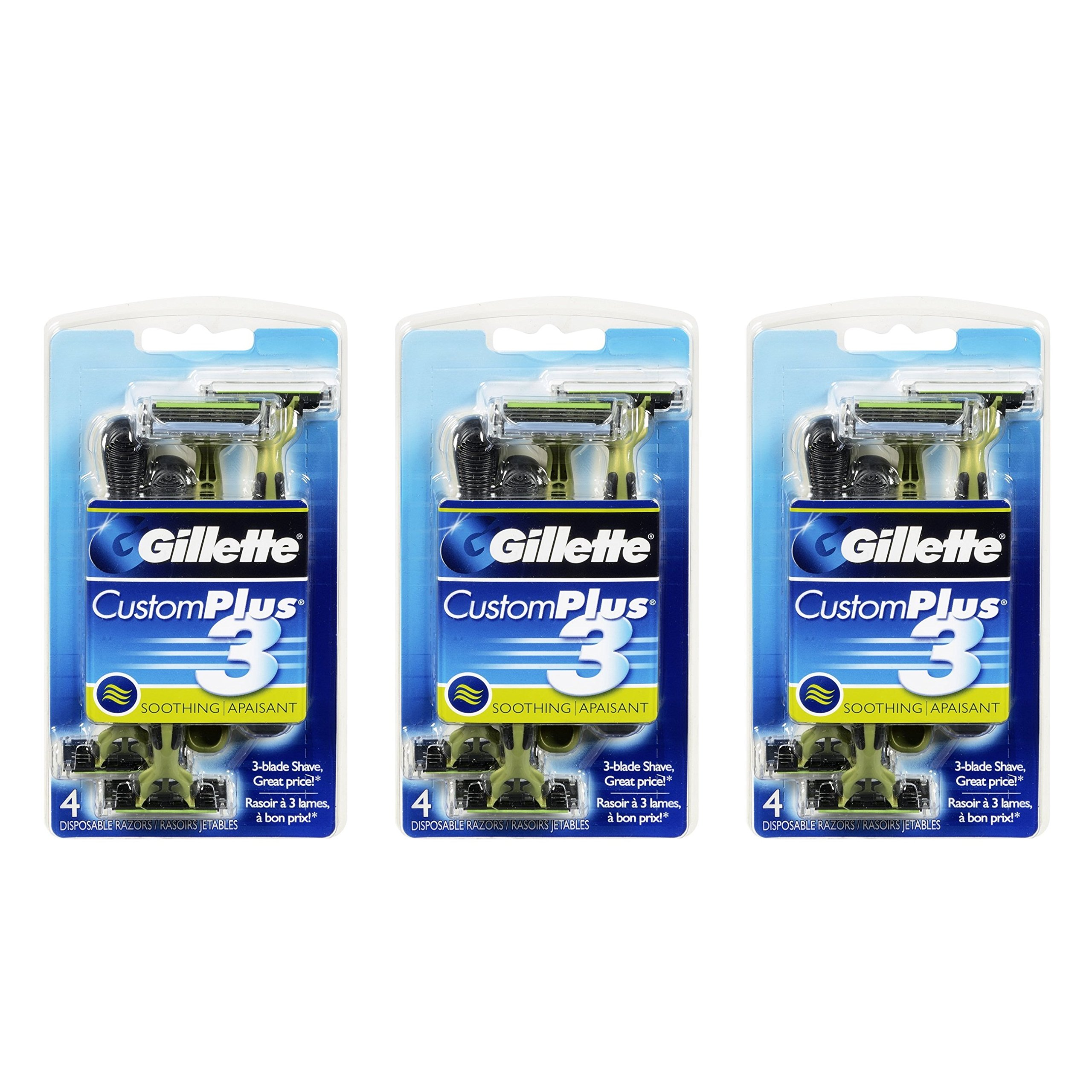 Gillette Customplus 3 Soothing Disposable Razor 4 Count (Pack of 3)