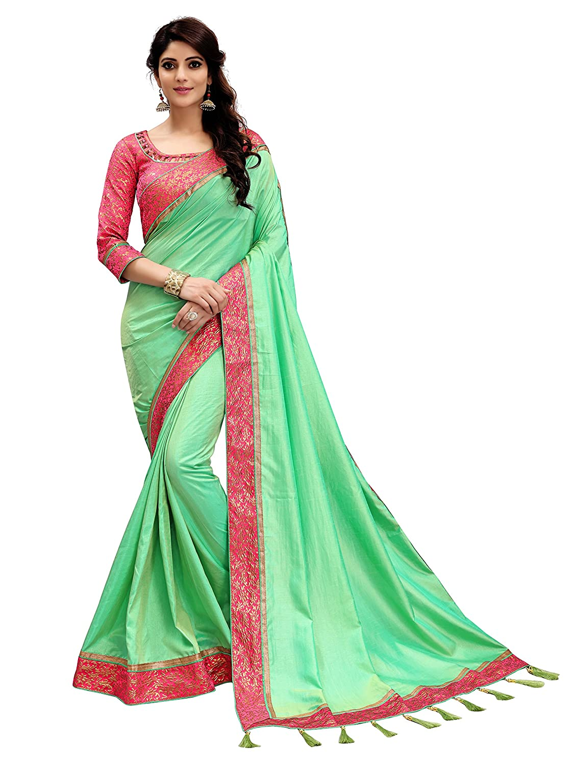 60fd056e78644 Lilots Silk Saree With Blouse Piece(466-30692 Light Green Free Size)   Amazon.in  Clothing   Accessories