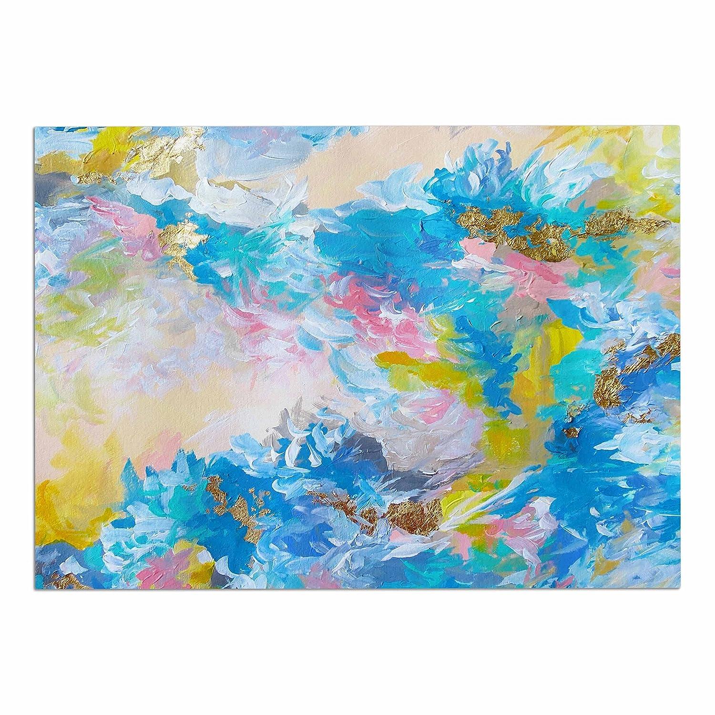 KESS InHouse Ebi Emporium When We Were Mermaids  bluee Yellow Dog Place Mat, 13  x 18