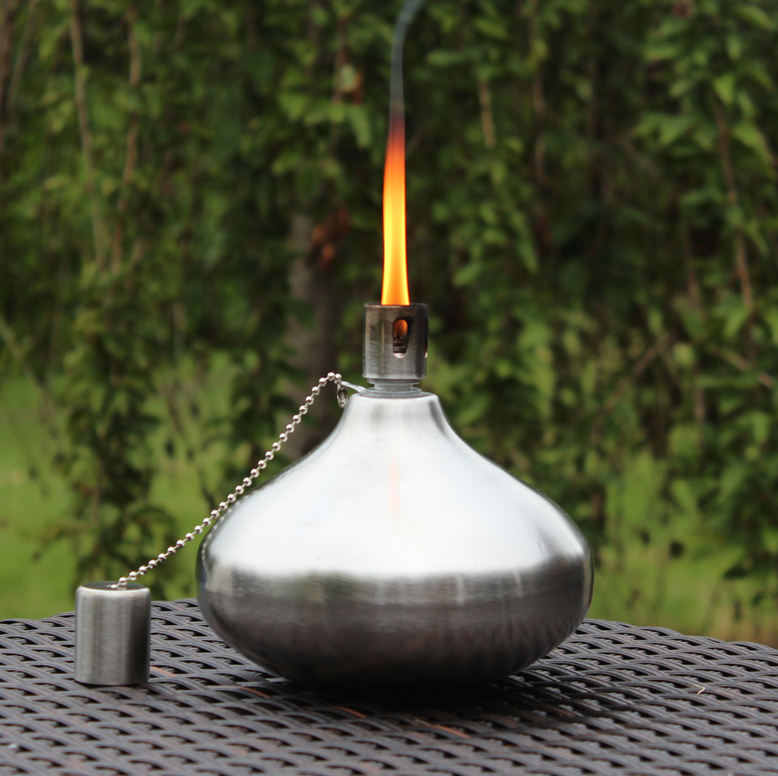 Seraphic Tiki Torch for Patio Table or Backyard, Stainless Steel with Fiberglass Wick
