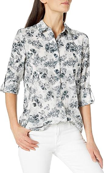 ELLEN TRACY Womens Sleeveless Boyfriend Shirt
