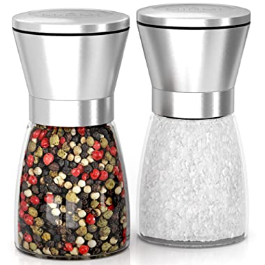 MIUMI Salt & Pepper Mill Shakers Set of 2 - Premium Salt and Pepper grinder set, Adjustable and Easy To Use, Stainless Steel Top, Ceramic Rotor and a Thick Glass Body with Large Capacity (5.2  tall)