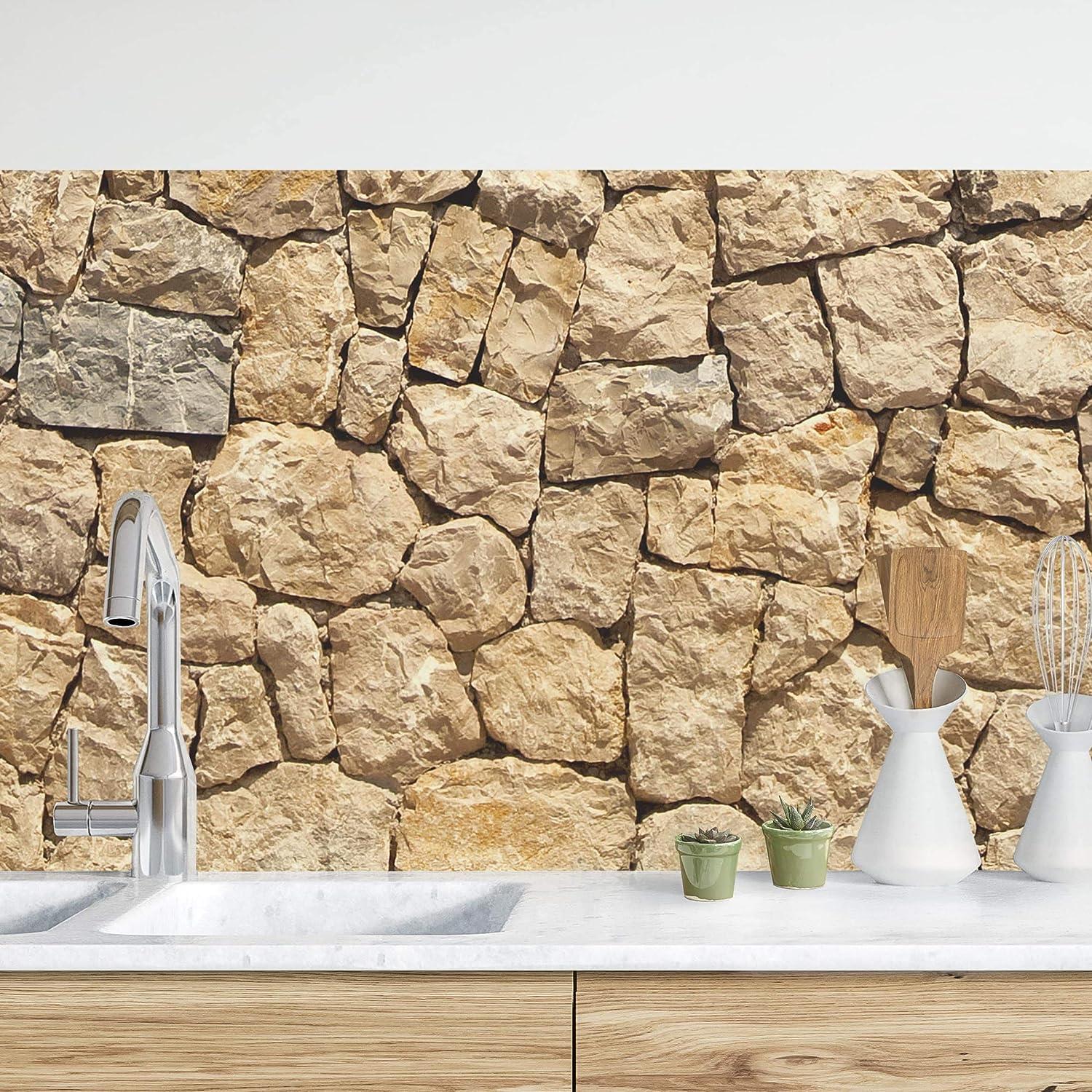 Antico Muro in ciotoli 50 x 50 cm Premium Bilderwelten Rivestimento Cucina