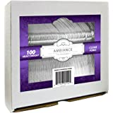 Crystalware, Heavy-Weight Clear Plastic Forks, Durable, Disposable, 100/box