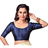 Studio Shringaar Golden Booti Round Neck Readymade Blouse With Elbow Length Sleeves And Golden Pearl Tassel