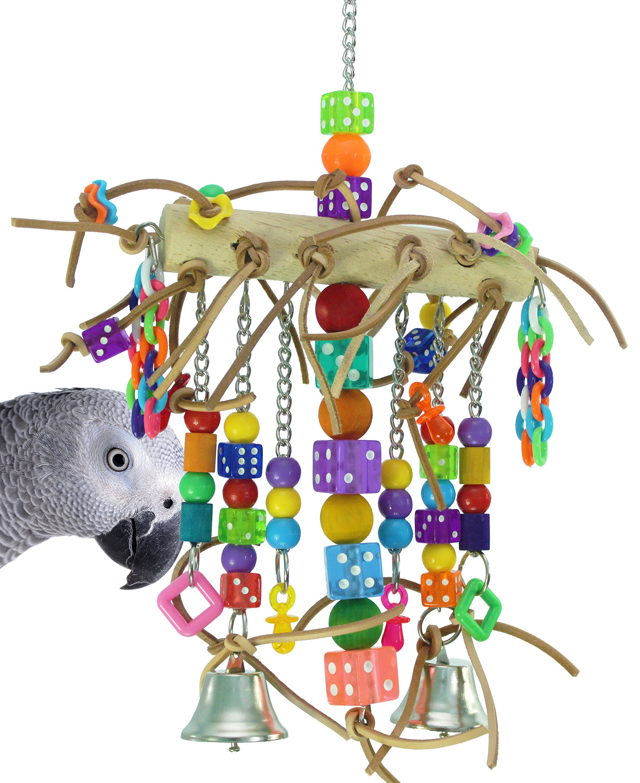 Bonka Bird Toys 1746 Leather Chain Waterfall Tower Toy Rope Parrot Cage Dice Cages African Grey Amazon Conure Wooden Perch Aviary Swing by Bonka Bird Toys