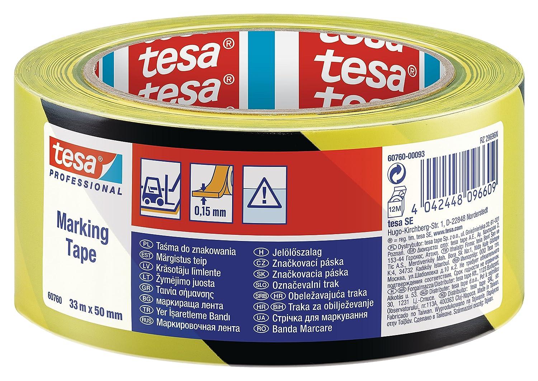 Tesa - Cinta adhesiva de seguridad (50 mm x 33 m), color negro y amarillo Tesa® 607600008715