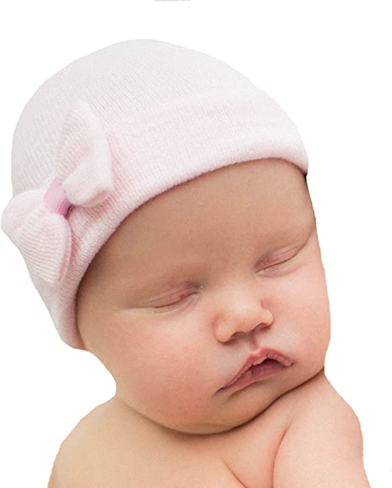 81d4546729d Amazon.com  Melondipity s Mini Pink Bow Newborn Girl Nursery Hospital Baby  Hat Pink Ribbon  Clothing