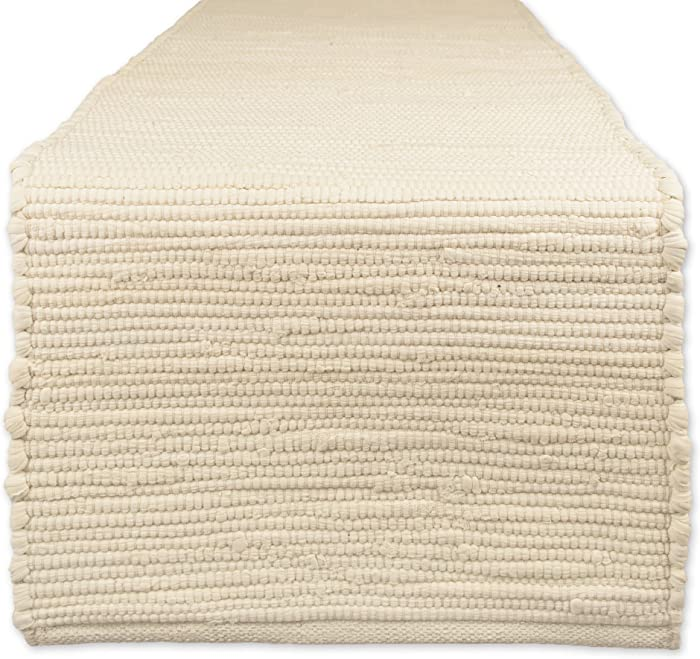 """DII Cotton Everyday Machine Washable Chindi Rag Table Runner, 14 X 72"""", Natural"""