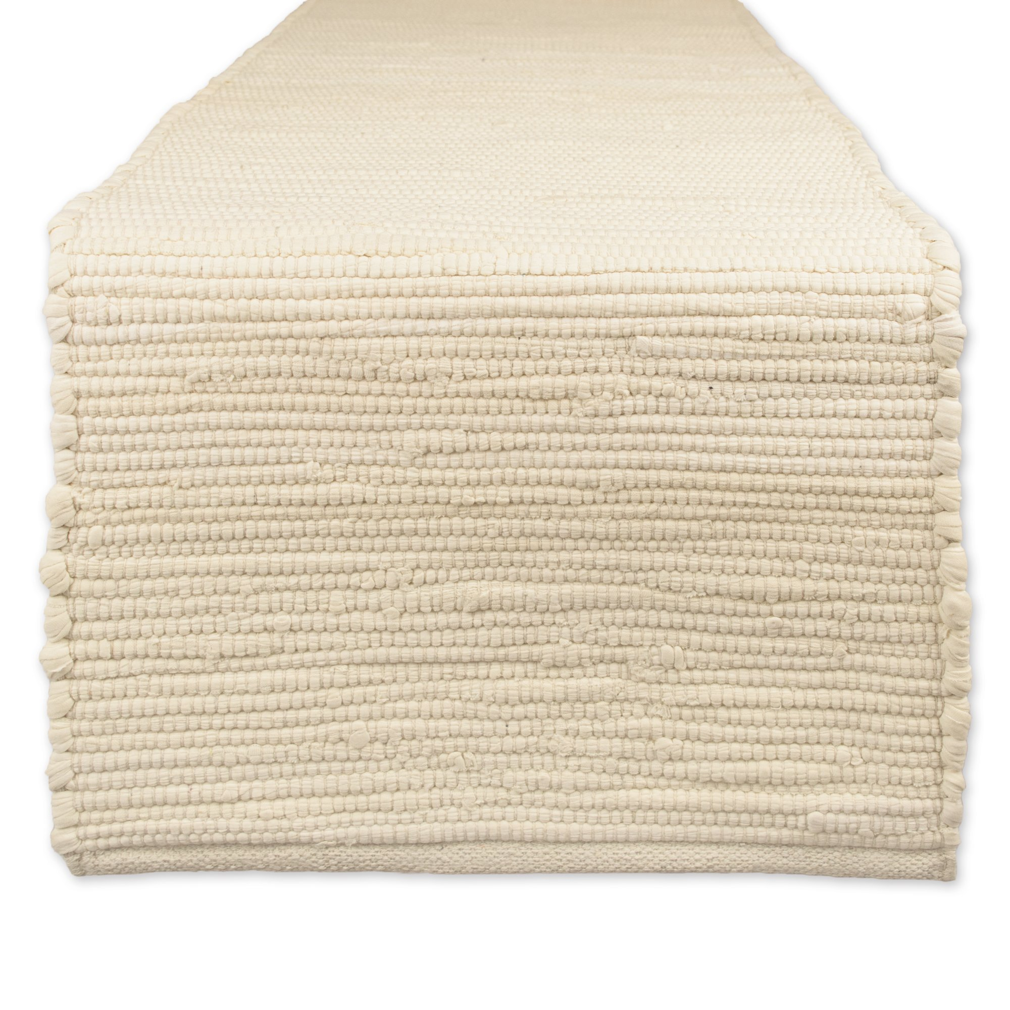 DII Cotton Everyday Machine Washable Chindi Rag Table Runner, 14 X 72'', Natural