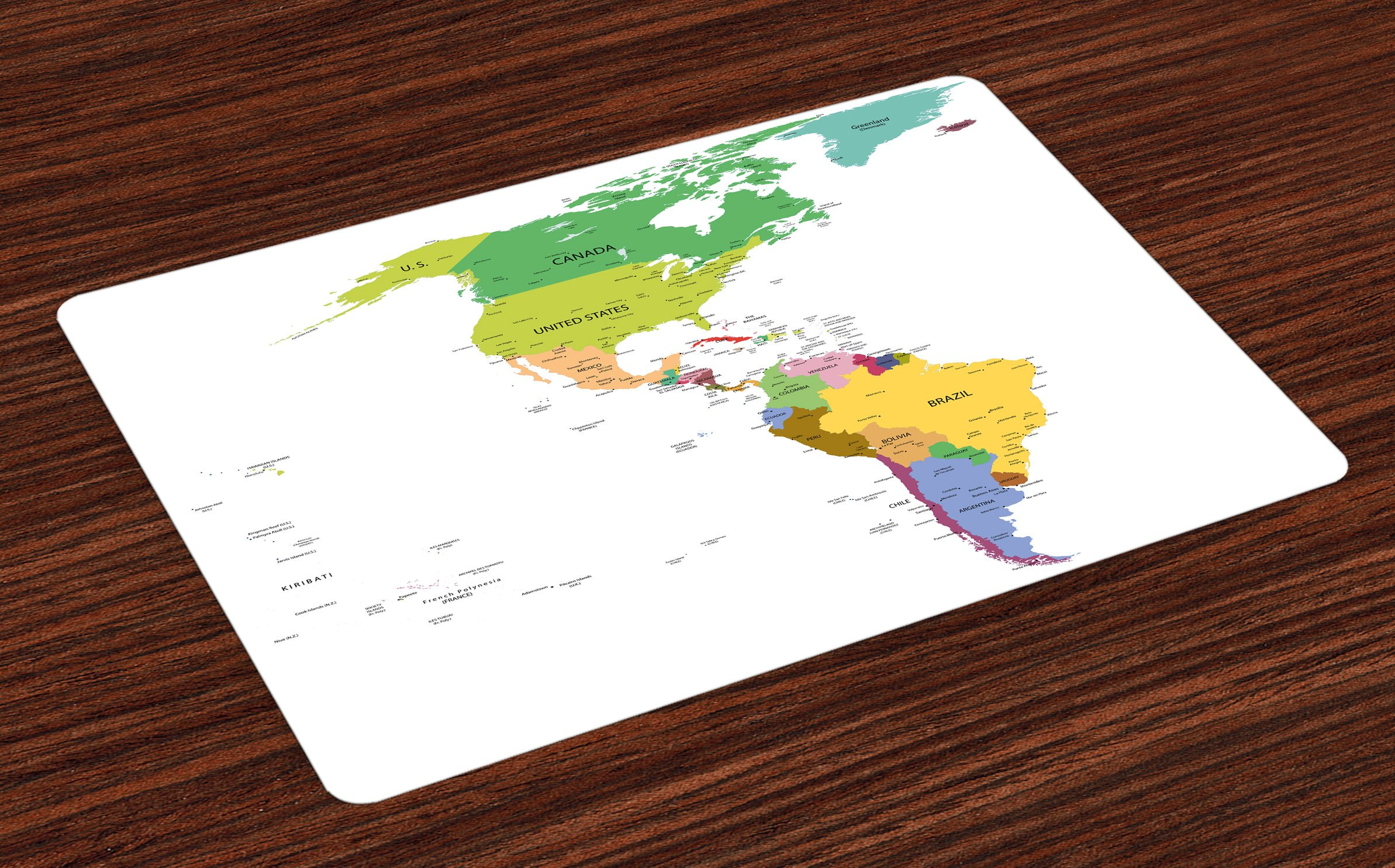Ambesonne Map Place Mats Set of 4, Map of South and North America with Countries Capitals and Major Cities Colorful Design, Washable Fabric Placemats for Dining Room Kitchen Table Decor, Multicolor